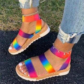 цена на Women Summer Ankle Strap Sandals Rainbow Color Platform Wedges Heel Peep Toe Fashion Casual Beach Ladies Shoes Zapatos De Mujer
