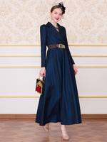 New fashion 2019 Autumn Evening Party Long Dresses Women Notched Collar Long Sleeve Dark Blue Maxi Dress Plus Size