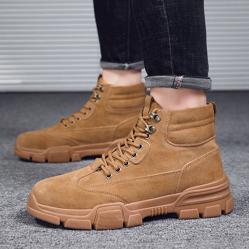 Men/'s Stylish Lace Up Solid Slip Resistant Ankle Boots Casual Motorcycle Boot WU