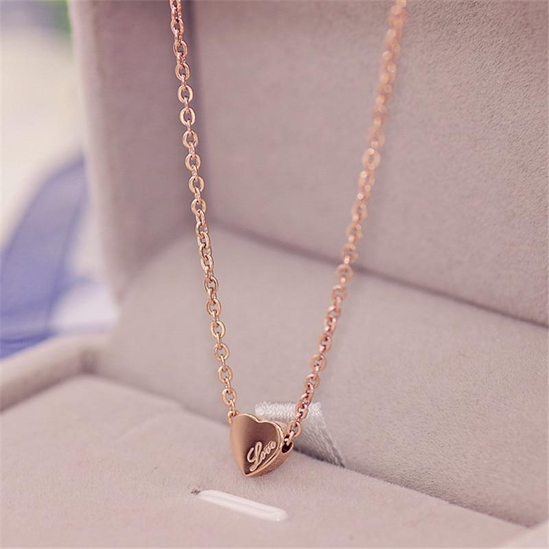 Ожерелье YUN RUO с подвеской в виде сердца цвета розового золота, ювелирные изделия из титановой стали, женский подарок на Рождество, не выцвет...