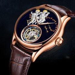 Ezopa automatyczny zegarek mechaniczny mężczyźni 100% prawdziwe Tourbillon męskie zegarki Top marka luksusowe szkielet zegar mężczyźni Relogio Masculino w Zegarki mechaniczne od Zegarki na