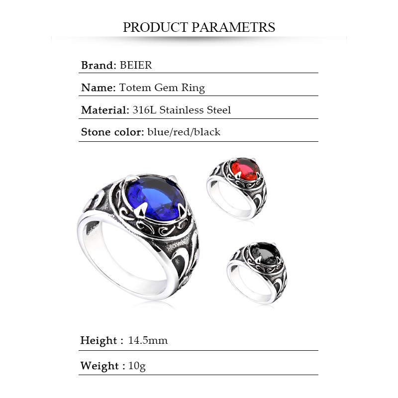 Northern Europe Viking Stainless Steel Ring With 3colour Stone Fashion Retro