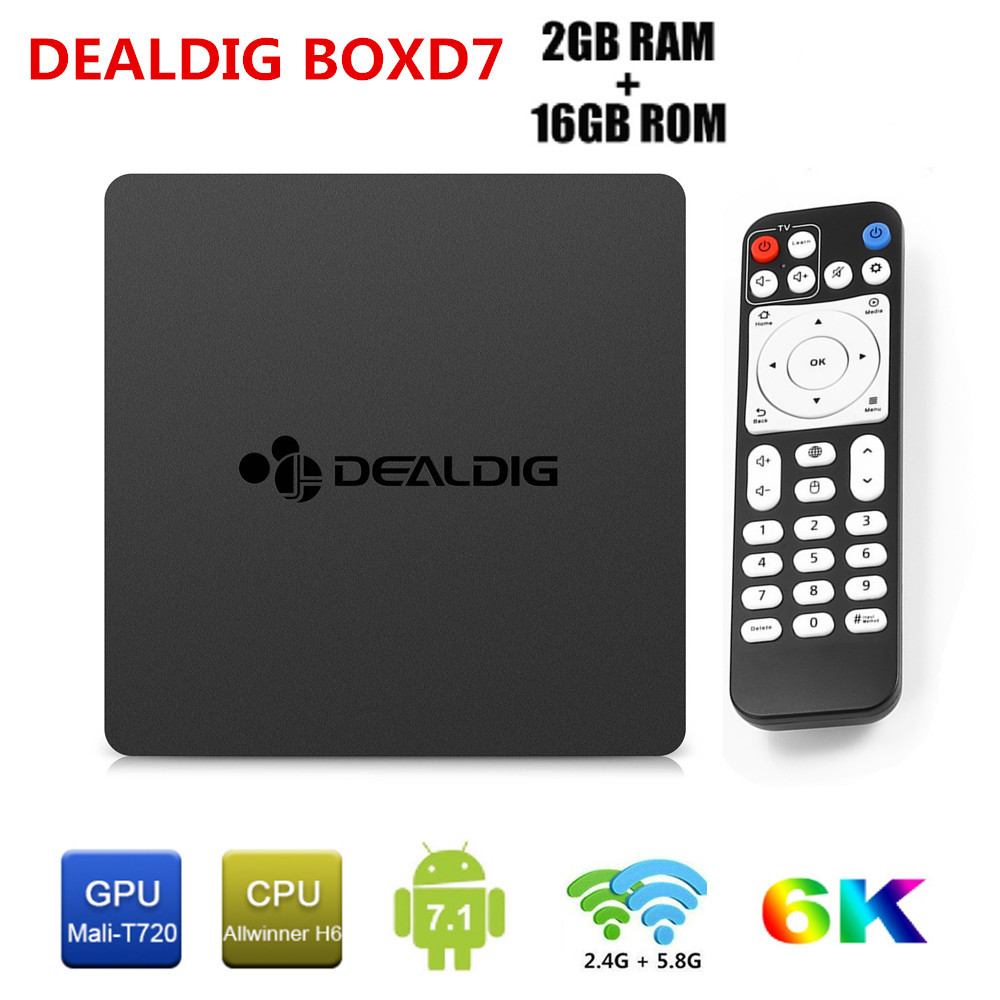 DEALDIG BOXD7 Android 7.1 Smart TV Box 6K Allwinner H6 Quad Core Set Top Box 2GB DDR4 16GB 1000M 2.4G/5.8G WiFi Media Player