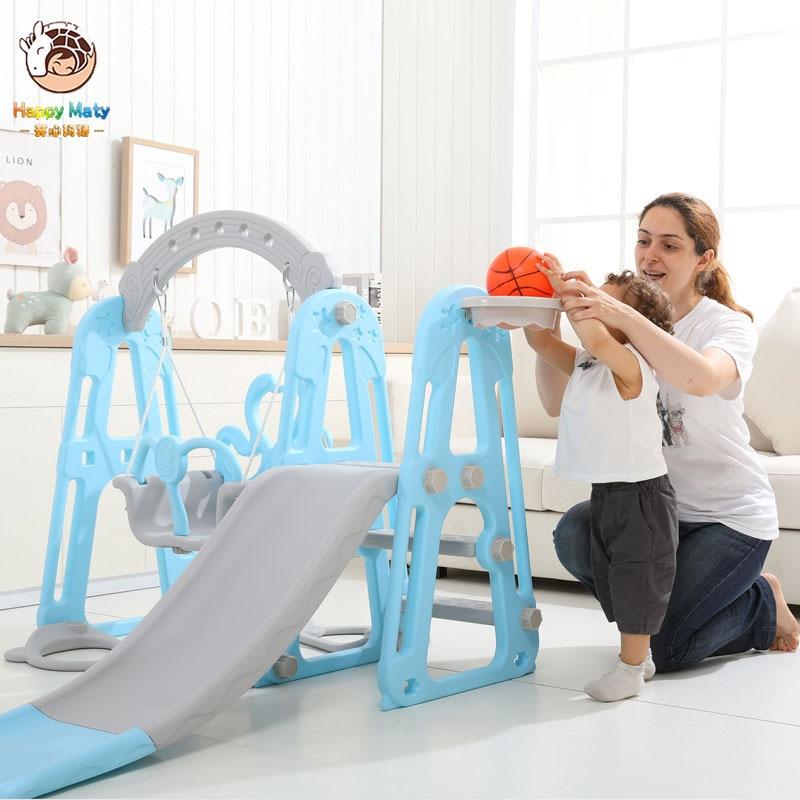 Children Slide And Swing Combination Kids Indoor Playground Kindergarten Baby Outdoor Plastic Multifunctional Slide Swing Toys