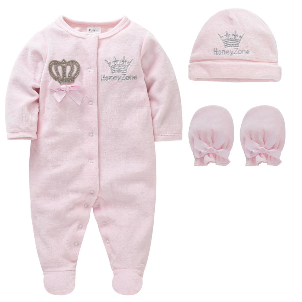 Baby Boys Rompers Royal Crown Clothing Sets with Cap Gloves Infant Newborn Prince One-Pieces Footies Overall Pajamas Velour