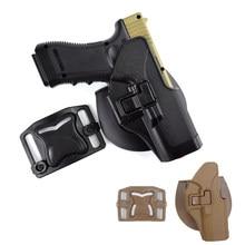 Militar glock coldre tático glcok mão direita cinto arma coldre para glock 17 19 22 23 31 32 preto tan
