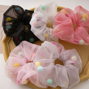 fashion Novelty women Organza with ball hair scrunchies ins girl's cute Ponytail Holder Hair accesso