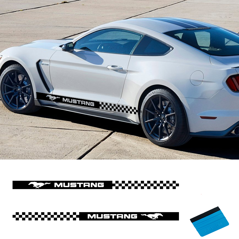 2 PCS Vinyl Side Sticker Decals Stripes Wraps Body Stickers Car Styling For Ford Mustang