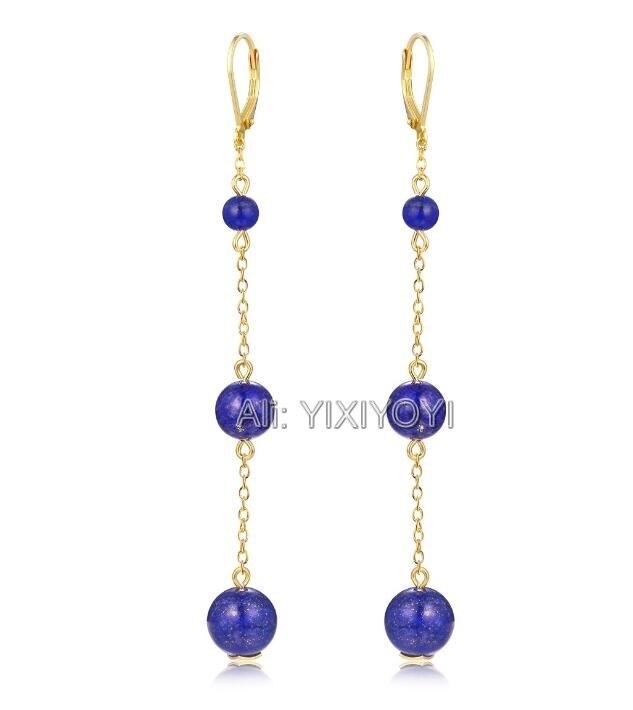 Красивый 925 серебряный синий драгоценный камень колье из круглых бусин Висячие Лаки застежка серьги девушки очаровательный подарок серьги
