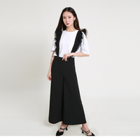 Sweaty Frill Contrast Bodysuit For Girl Women Flare Pants Black Casual OL Pattern Rompers TA02800186