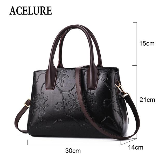 ACELURE Brand Leather Shoulder Bag Retro Female Tote Bag High Quality Flower Embossed Handbag Ladies Messenger Bag Bolsos Mujer