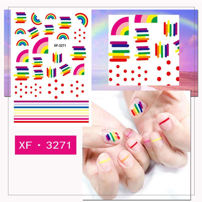 Colorido 3D Ouro Projeto Do Floco De Neve Da Arte Do Prego Adesivos de Transferência de Água Decal Nail Art Sticker Ferramentas XF6231