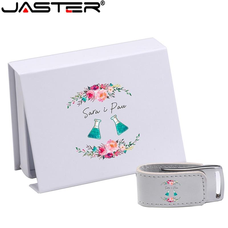 JASTER (over 10PCS Free LOGO) USB 2.0 White Leather + Box Pendrive Usb Flash Drive 4GB 8GB 16GB 32GB 64GB External Storage