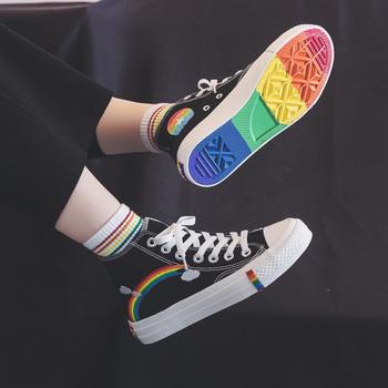 Moda damska 2020 buty wulkanizowane damskie sneakersy nowe Rainbow Retro brezentowe buty płaskie modne wygodne wysokie buty damskie tanie i dobre opinie HOPUS Płótno Rzym Paski Fabric Wiosna jesień Niska (1 cm-3 cm) Lace-up Pasuje prawda na wymiar weź swój normalny rozmiar