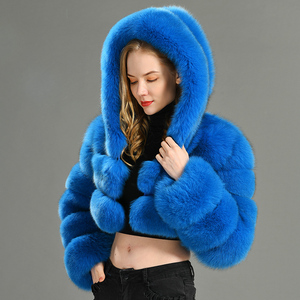 Image 2 - 2019 Winter Real Fox Fur Women Coats Natural Genuine Female Fox Fur Jacket High Quality Ladies Hooded Fur Coat