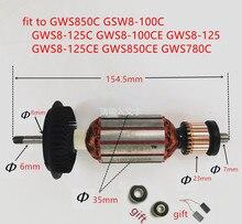 AC220 240V Armature Motore A Rotore per BOSCH GWS850C GSW8 100C GWS8 125C GWS8 100CE GWS8 125 GWS8 125CE GWS850CE GWS780C