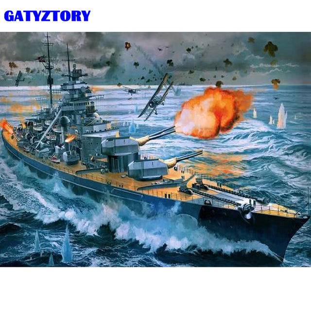 Paint By Numbers Adult Kit WW2 Sink The Bismark Battleship Royal Navy Swordfish