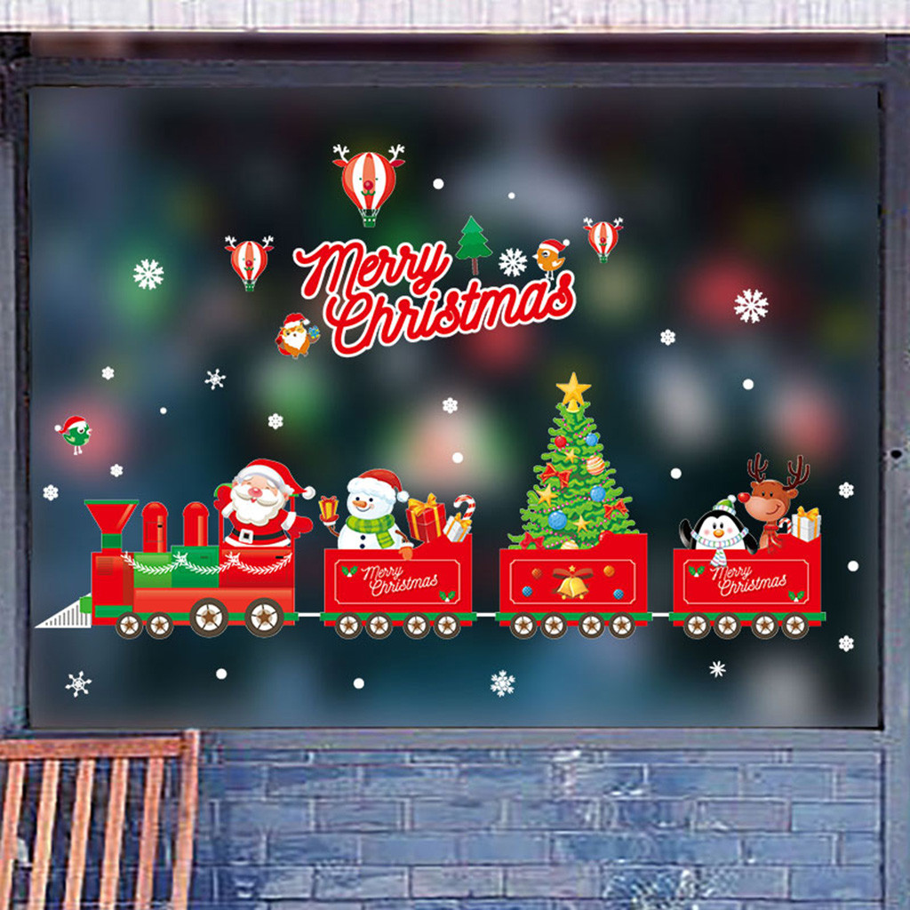 Santa Claus Red Elk Window Art Stickers Wall Shop Merry Christmas Home Decor Hot