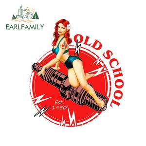 EARLFAMILY 13cm x 11.3cm For Old School Pin Up Girl Funny Car Stickers Cartoon Decal Car Accessories Fashion Suitable for VAN RV