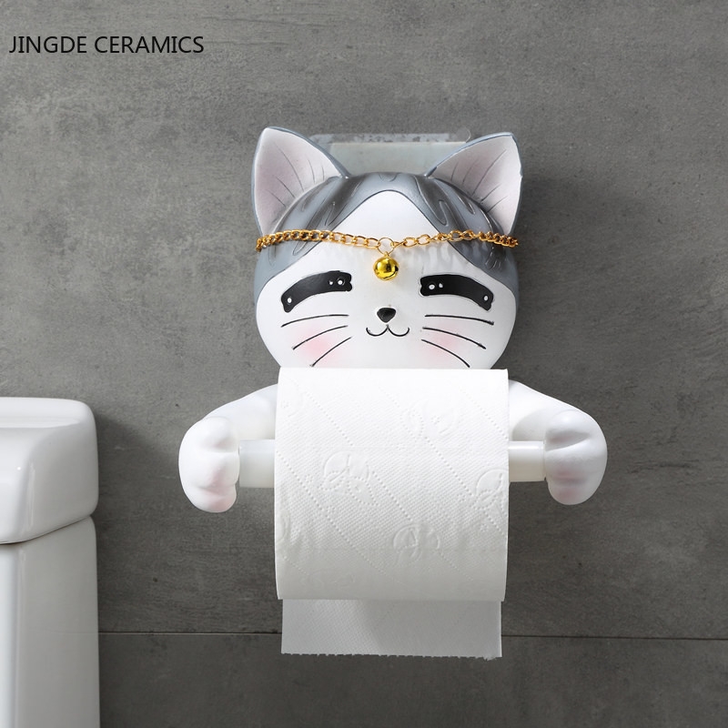 Creative Cartoon Animal Cat Bathroom Tray Free Punch Home Decoration Toilet Paper Towel Paper Towel Box Roll Paper Tube Rack