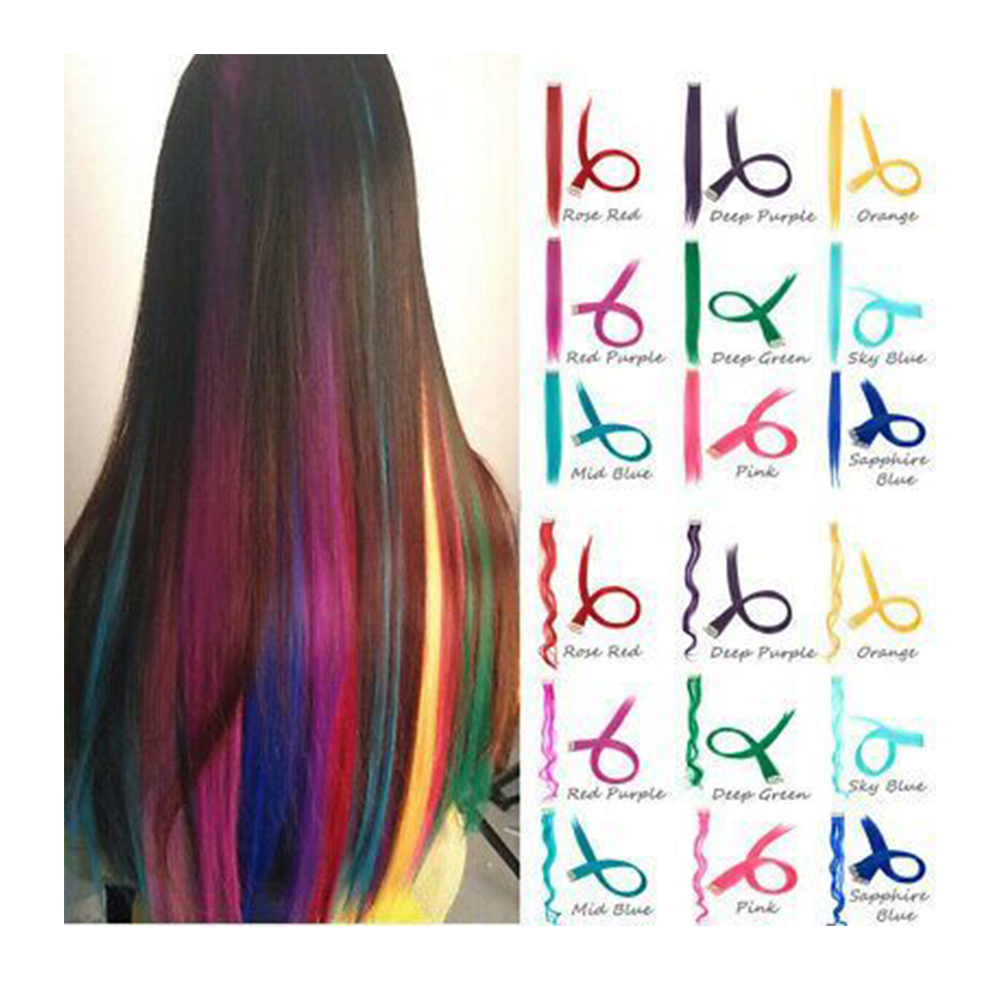 Long Straight Highlight Rainbow Hair Piece For Hair Extension Color Clip In Hair Strands Pink Synthetic Wig Hair Streak On Clips