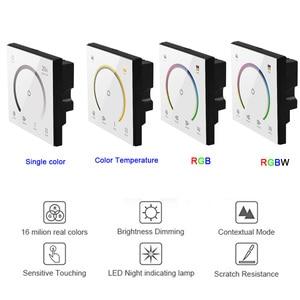 Image 1 - Interrupteur de contrôleur de lumière, nouvel interrupteur de panneau tactile, interrupteur de variateur de lumière, couleur unique/CT/RGB/RGBW, interrupteur mural en verre trempé