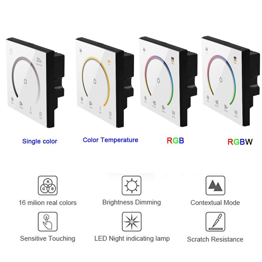 Neue 86 Touch Panel Schalter DC12-24V Controller Licht Dimmer einzigen farbe/CT/RGB/RGBW LED Streifen gehärtetem Glas Wand Schalter