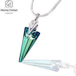 Image 2 - Isıtıcı Farben Swarovski gelen kristal üçgen kristal kolye kolye yılan zinciri ile güzel takı hediye bayan Collares
