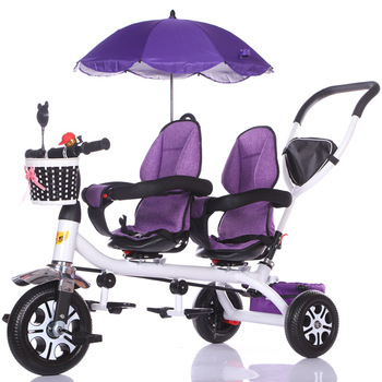 Anti UV Sunshade Twins Baby Stroller Double Tricycle Trolley Rotating Swivel Seat Prams Two Baby Carriage Double Baby Stroller twins baby stroller sitting and lying portable baby carriage folding second child artifact double seat twin stroller for newborn