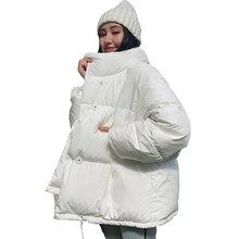 Корейский стиль, зимняя куртка для женщин, воротник-стойка, однотонный, черный, белый, женский пуховик, свободный, негабаритный, для женщин, s,...