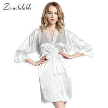 Silk Kimono Robe Bathrobe Women Bridesmaid Robes Sexy Navy Blue Satin Ladies Dressing Gowns Plus Size for