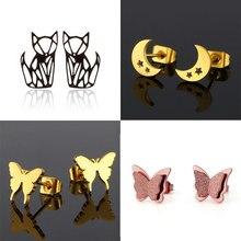 Jisensp-pendientes de tuerca de acero inoxidable para mujer, regalo de joyería diario, pendientes de Luna estrella, pendientes para mujer de moda 2020