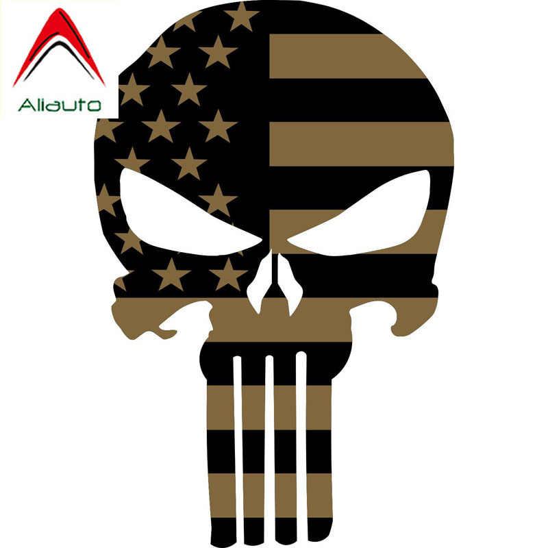 Calcomanías de coche Aliauto Punisher Skull accesorios exteriores vinilo de personalidad para Megane 2 Lada Honda Crv Vw Passat, 16cm * 10cm