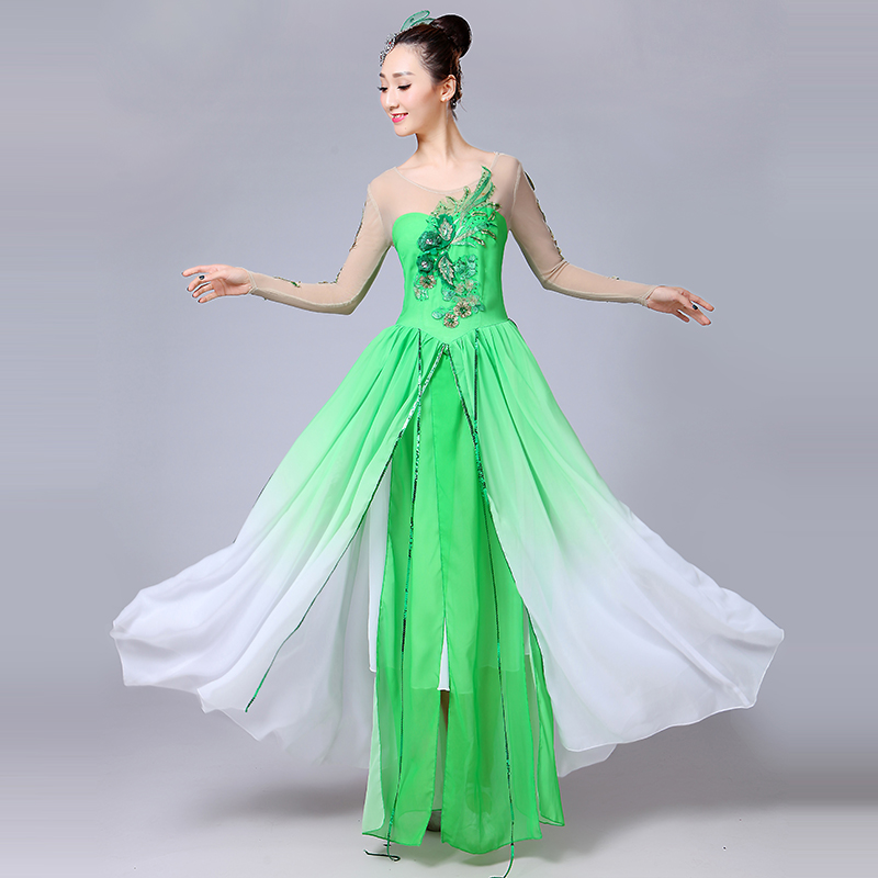 2021 Green Flamenco Dress Adult Fairy Concert Outfits Stage Costume Classical Dance Wear Ballroom Dance Clothes Gypsy Skirt