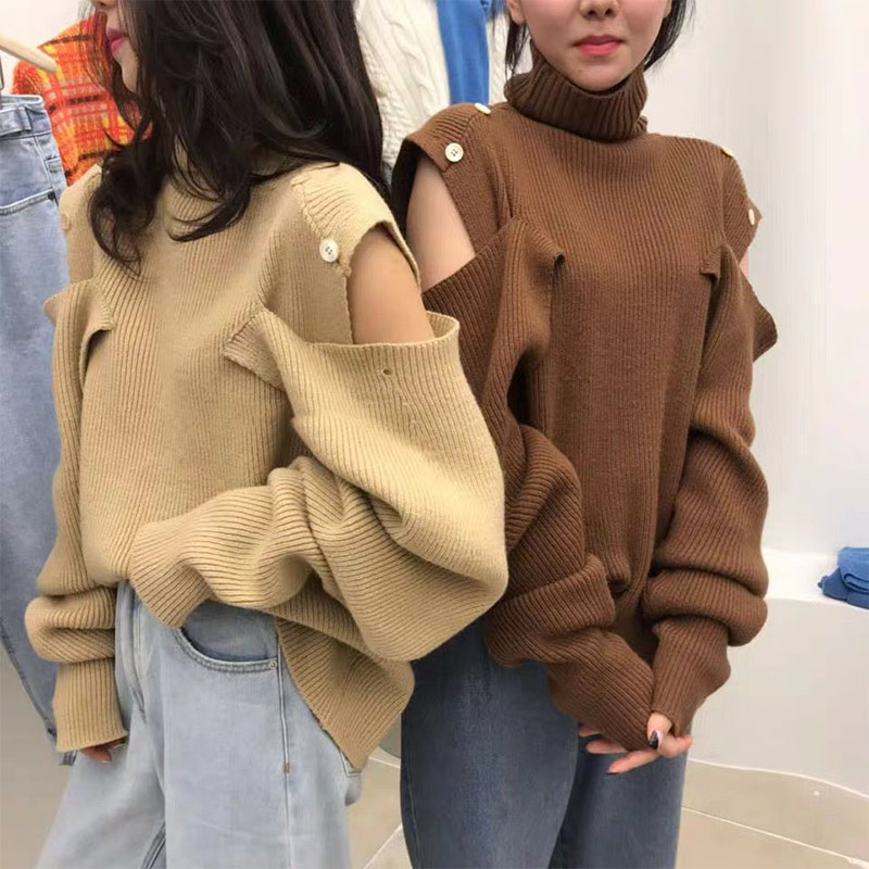 Autumn Winter New Sweater Women High-Necked Pullover Loose Off -Shoulder Thick Sweater Ladies Paragraph Knit Shirt Sweater Woman