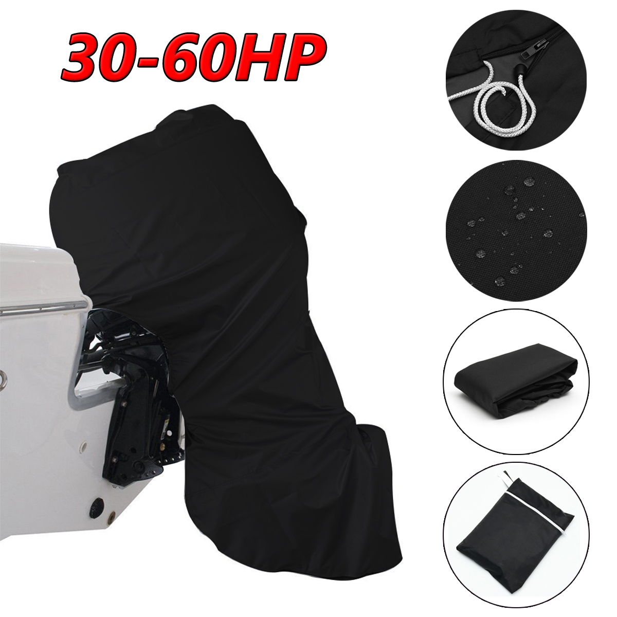 56.69inch 600D Black Boat Full Outboard Engine Cover For 30-60 Hose Power Motor Waterproof