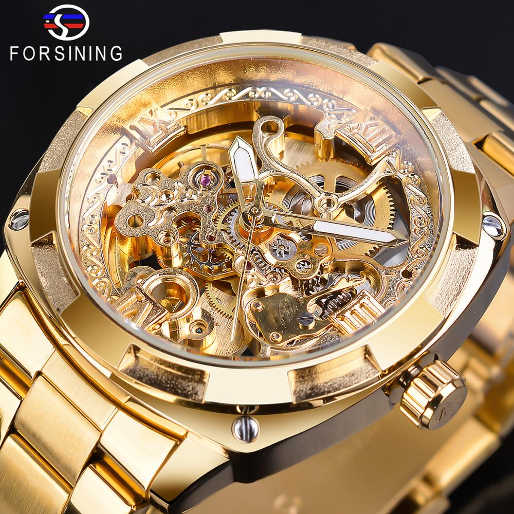 Forsining Retro Men's Automatic Mechanical Wirstwatches Top Brand Luxury Full Golden Design Luminous Hands Skeleton Clock Male