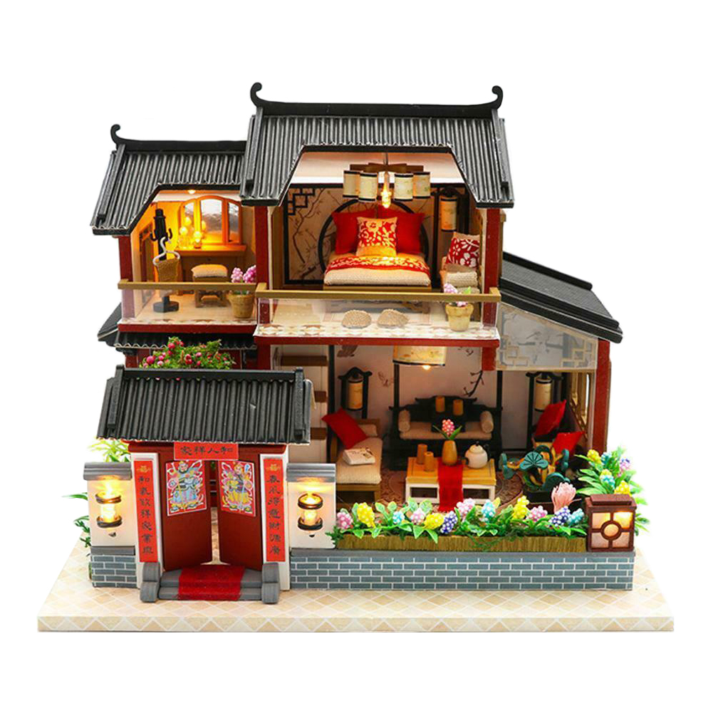 LED Lighting House Model Kit Bright Color Chinese Style Toy DIY Assemble Wooden 3D Exquisite Children Intellectual Miniature