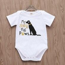 Детские боди с милой собачкой, Одежда для новорожденных с короткими рукавами и золотым принтом «My Sibling Have Paws», маленькие хлопковые костюмы для детей от 0 до 18 месяцев