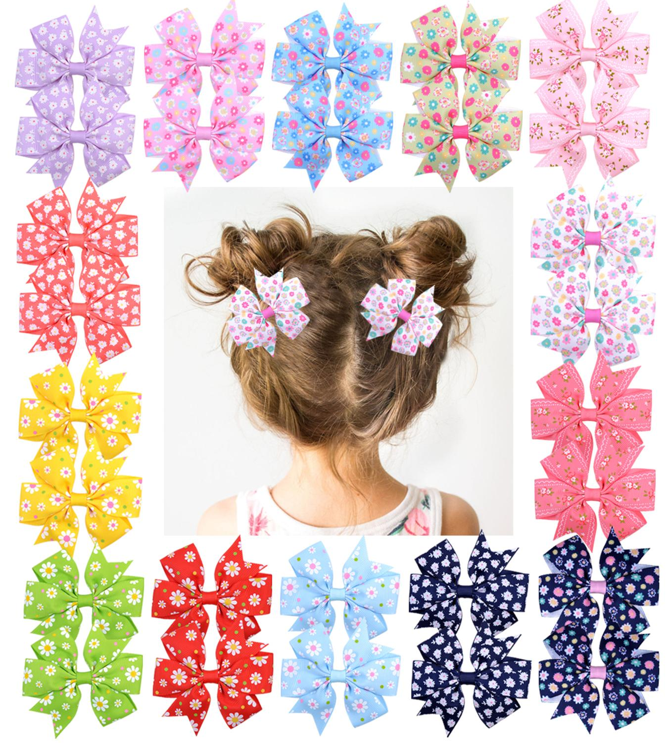 Grosgrain Ribbon Bows-Clips Hairpin Hair-Accessories Hair-Bows-Boutique Headware Girl's title=