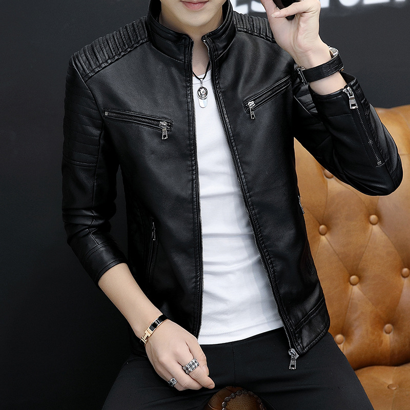 2019 MEN'S Leather Coat Biker Jacket Brushed And Thick Youth PU Leather Coat Korean-style Trend Stand Collar Casual Men'S Wear