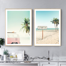 Nordic Seascape Poster Beach Pink Car Posters And Prints Green Plant Sea Wall Art Canvas Painting Pictures Cuadros Unframed