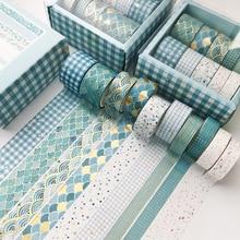 10 pcs/set Blue Geometry Series gold Washi Tape set Scrapbooking Decorative Adhesive Tapes Paper Japanese Stationery Sticker
