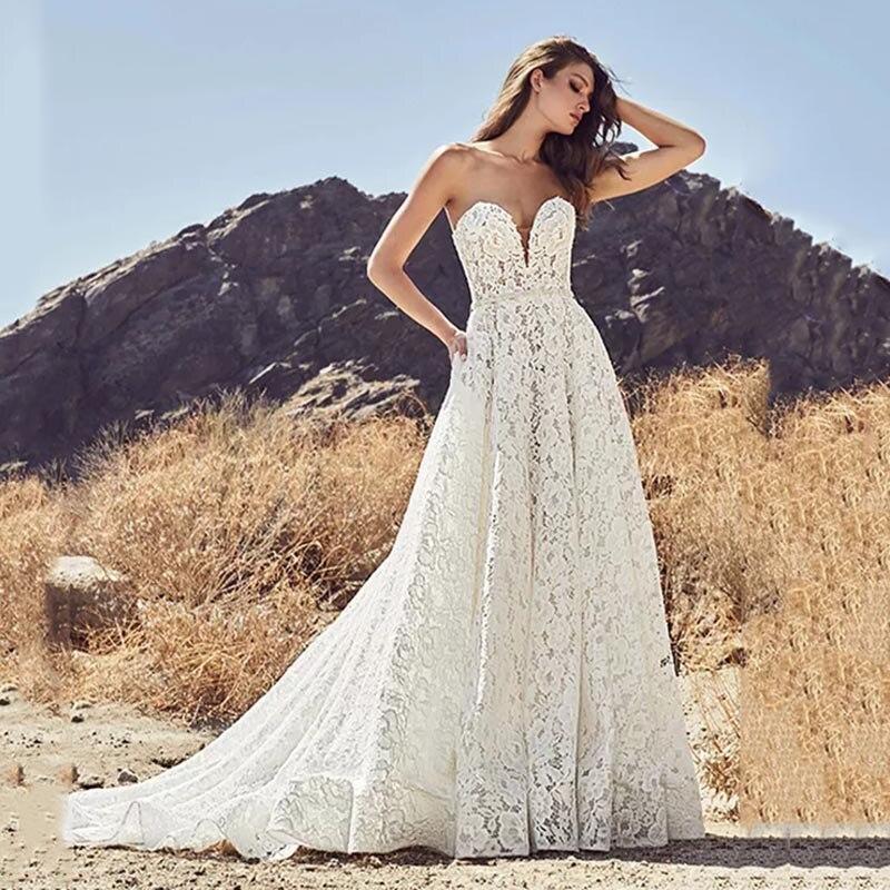 Eightree Full Lace Strapless Wedding Dress Backless Beach Boho Wedding Gowns Sweep Train Waist Belt Robe De Soiree Custom Made