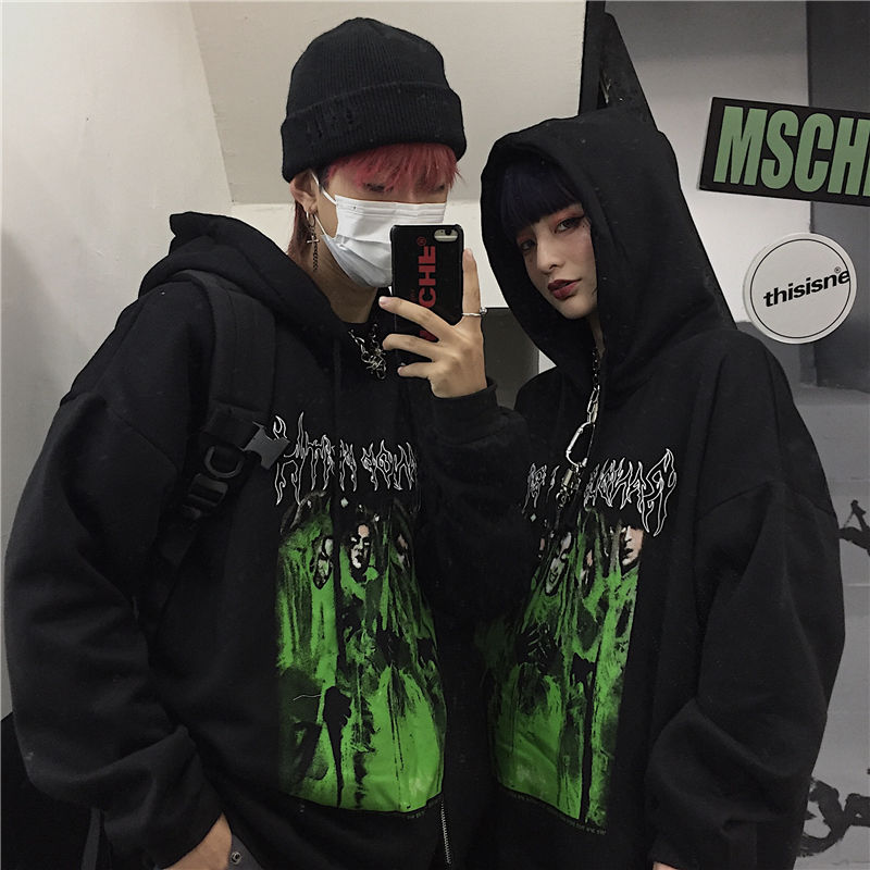 NiceMix Harajuku Casual Loose Female Fleece Hoodies Dark Letter Character Women Fleece Hooded Sweatshirts Autumn Lady Fleece Top