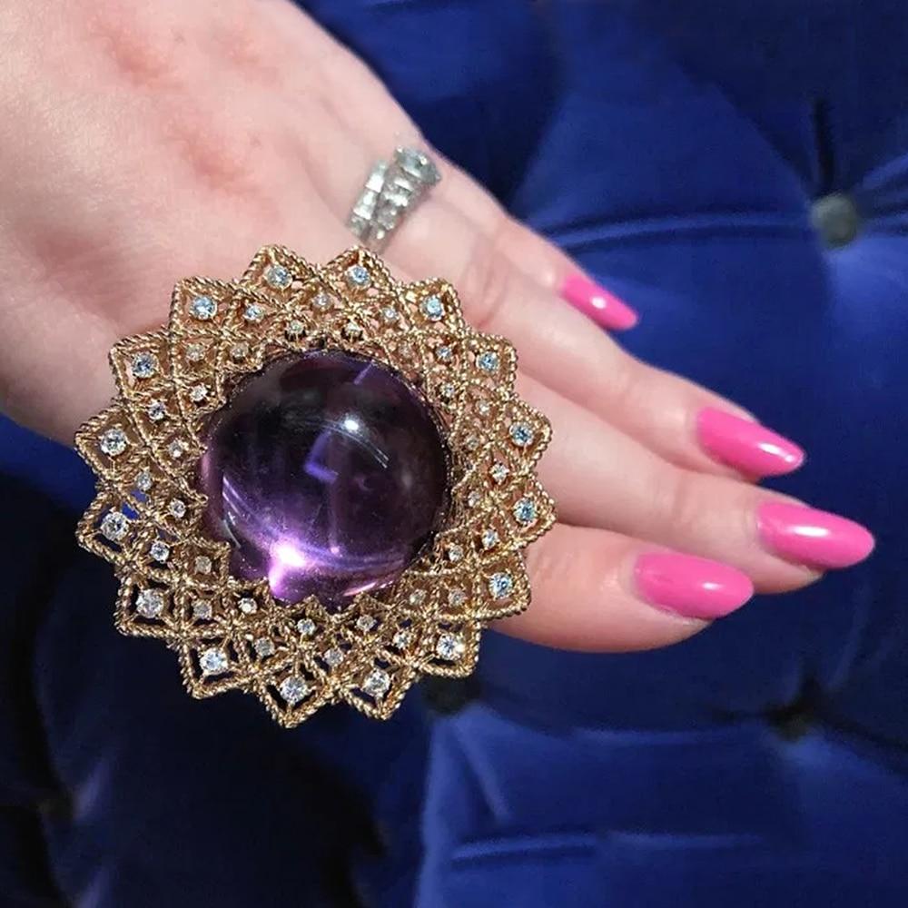 Huitan girassol do vintage em forma de anéis femininos para festa cor roxa resina pedra exagerada acessórios femininos fantasia presente jóias