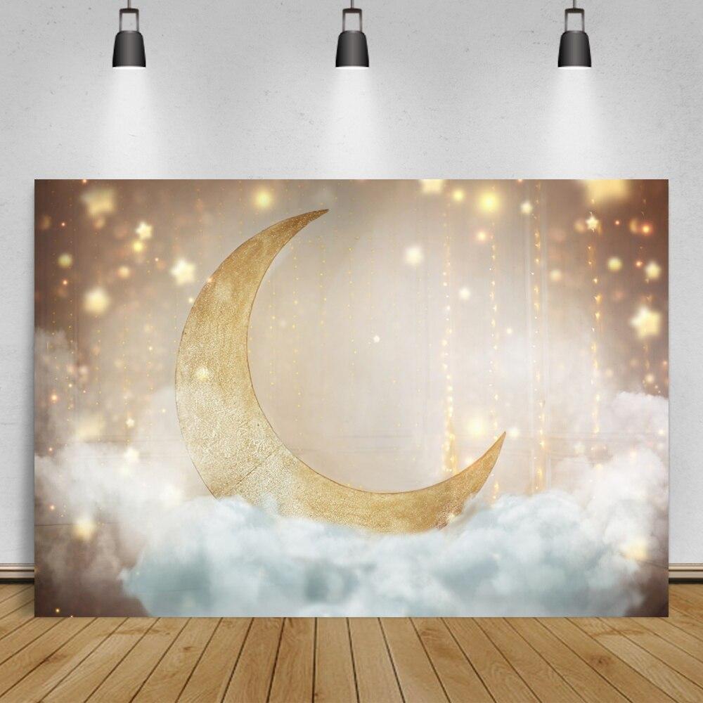 Фоны для фотостудии с блестящей золотой луной, звездой, вечерним кулоном, облаком, мечтательной деткой, портретом на день рождения