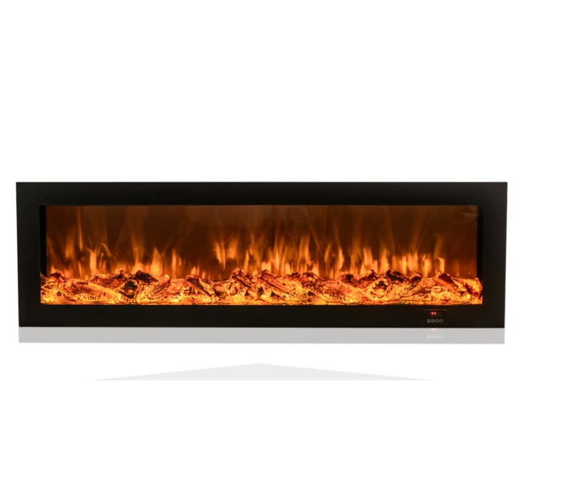 220V Electric LED Fireplace Insert With Wood Log Embers / 4 Flame Colors Change By Remote / 150x53(WxH) Glass Panel