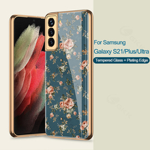 GKK Flower Pattern Tempered Glass Case For Samsung Galaxy S21 Plus Ultra 5G Plating Hard Cover For Samsung S21 Plus Ultra Case