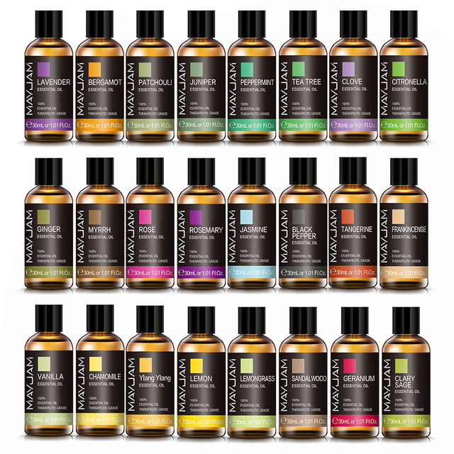 10ml 30ml 100ml with Dropper Jasmine Lavender Eucalyptus Mint Vanilla Pure Natural Essential Oils Ylang Ylang Tea Tree Aroma Oil 6